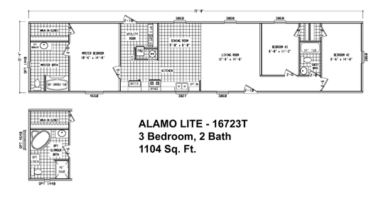 Single wide 3 bedroom 2 bath open floor plan for a for 2 bedroom double wide floor plans