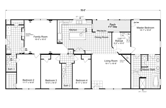 The Pecan Valley V Extra Wide KHV476B2 Floor Plan